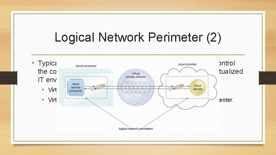Logical Network Perimeter (2) • Typically established via network devices that supply and control