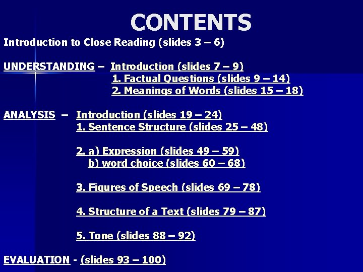 CONTENTS Introduction to Close Reading (slides 3 – 6) UNDERSTANDING – Introduction (slides 7