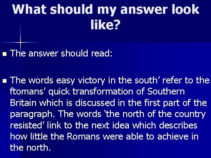 What should my answer look like? n The answer should read: n The words