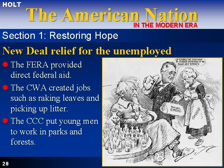 HOLT The American Nation IN THE MODERN ERA Section 1: Restoring Hope New Deal