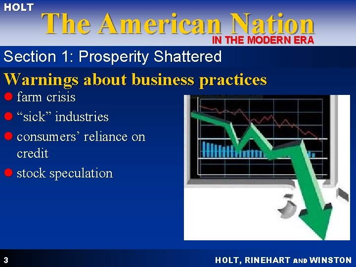 HOLT The American Nation IN THE MODERN ERA Section 1: Prosperity Shattered Warnings about