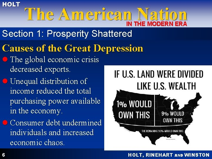 HOLT The American Nation IN THE MODERN ERA Section 1: Prosperity Shattered Causes of