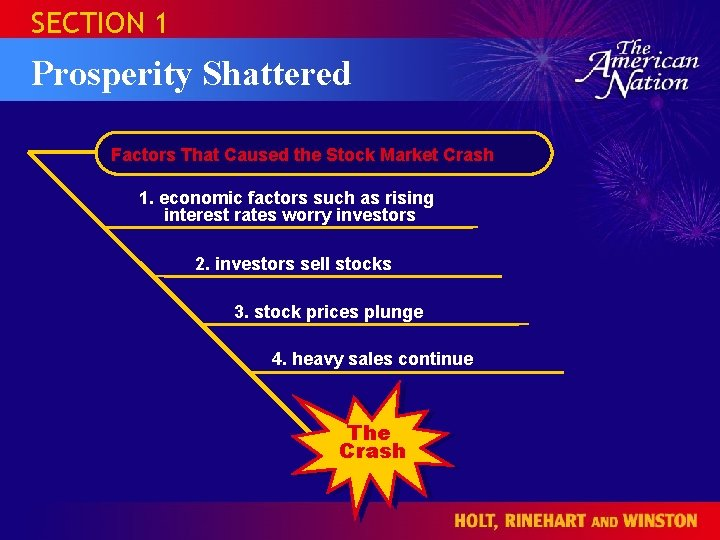 SECTION 1 Prosperity Shattered Factors That Caused the Stock Market Crash 1. economic factors
