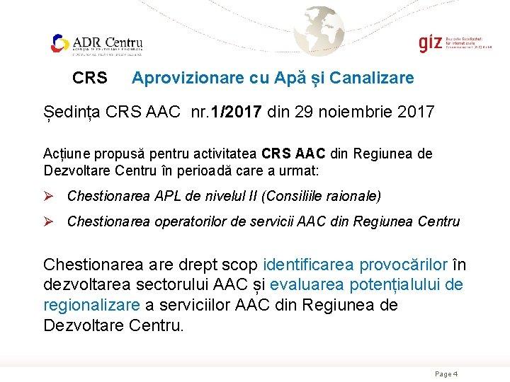 CRS Aprovizionare cu Apă și Canalizare Ședința CRS AAC nr. 1/2017 din 29 noiembrie