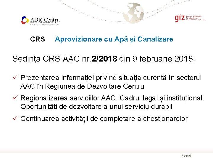 CRS Aprovizionare cu Apă și Canalizare Ședința CRS AAC nr. 2/2018 din 9 februarie