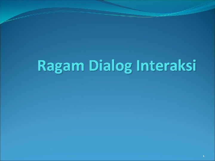 Ragam Dialog Interaksi 1