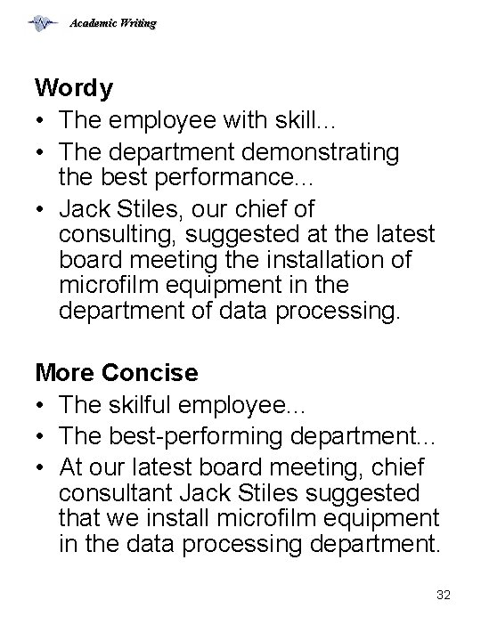 Academic Writing Wordy • The employee with skill. . . • The department demonstrating