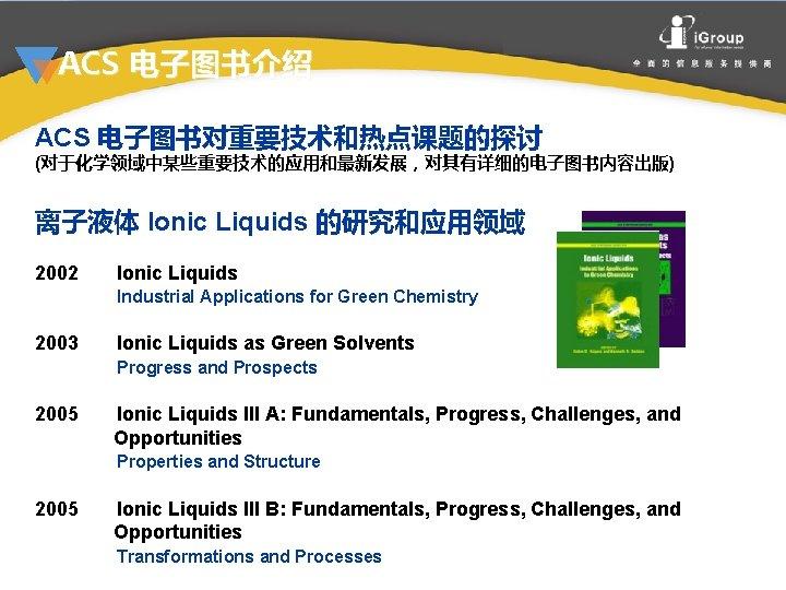 ACS 电子图书介绍 ACS 电子图书对重要技术和热点课题的探讨 (对于化学领域中某些重要技术的应用和最新发展,对其有详细的电子图书内容出版) 离子液体 Ionic Liquids 的研究和应用领域 2002 Ionic Liquids Industrial Applications