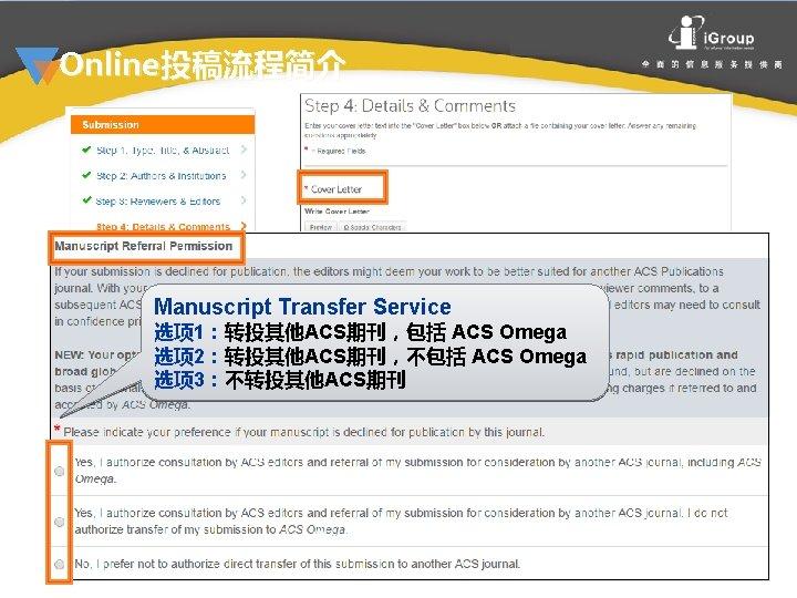 Online投稿流程简介 Manuscript Transfer Service 选项 1:转投其他ACS期刊,包括 ACS Omega Step 4:选项 2:转投其他ACS期刊,不包括 ACS Omega 选项