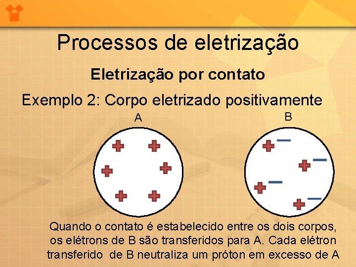 Processos de eletrização Eletrização por contato Exemplo 2: Corpo eletrizado positivamente A B Quando