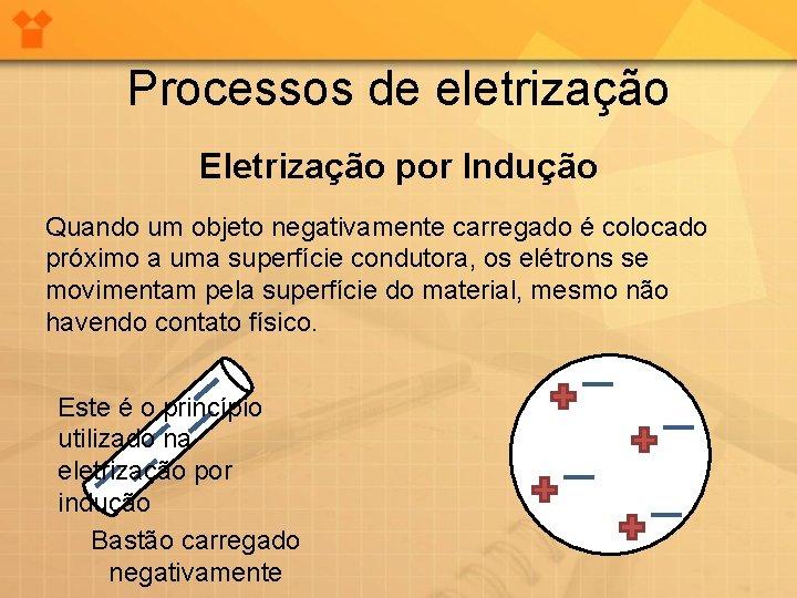 Processos de eletrização Eletrização por Indução Quando um objeto negativamente carregado é colocado próximo