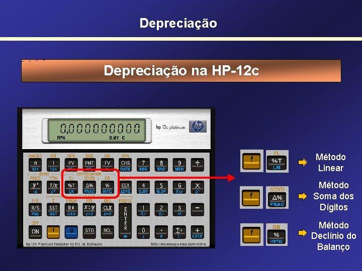 Depreciação na HP-12 c Método Linear Método Soma dos Dígitos Método Declínio do Balanço