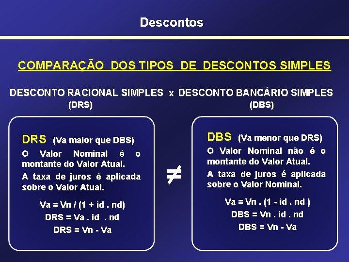 Descontos COMPARAÇÃO DOS TIPOS DE DESCONTOS SIMPLES DESCONTO RACIONAL SIMPLES x DESCONTO BANCÁRIO SIMPLES
