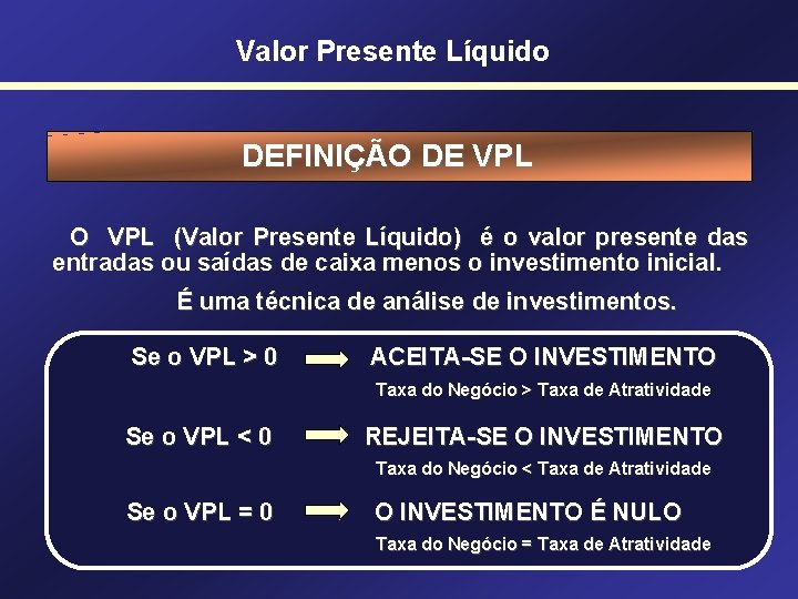 Valor Presente Líquido DEFINIÇÃO DE VPL O VPL (Valor Presente Líquido) é o valor