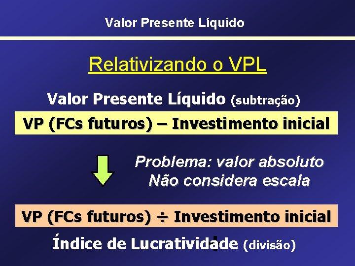 Valor Presente Líquido Relativizando o VPL Valor Presente Líquido (subtração) VP (FCs futuros) –