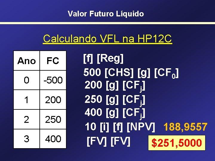 Valor Futuro Líquido Calculando VFL na HP 12 C Ano FC 0 -500 1