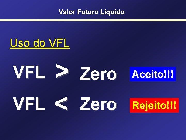 Valor Futuro Líquido Uso do VFL VFL > < Zero Aceito!!! Zero Rejeito!!!