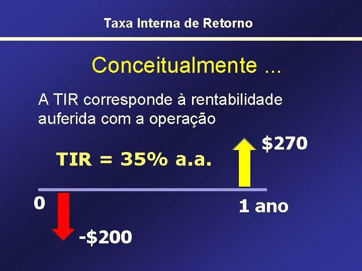 Taxa Interna de Retorno Conceitualmente. . . A TIR corresponde à rentabilidade auferida com
