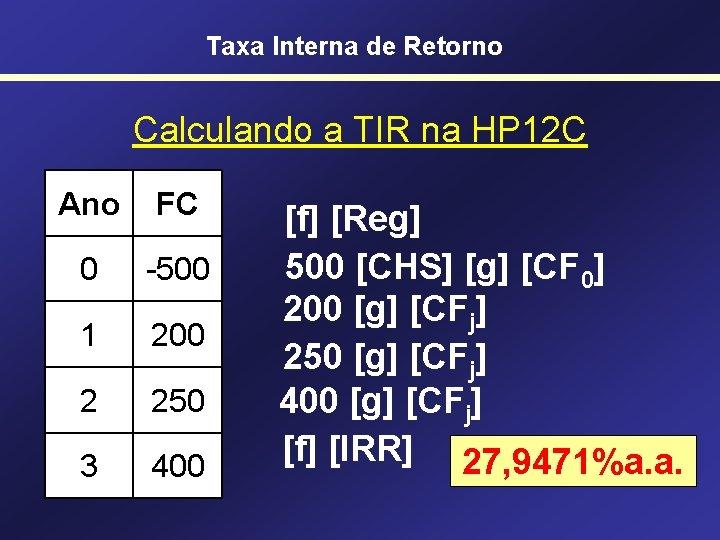 Taxa Interna de Retorno Calculando a TIR na HP 12 C Ano FC 0