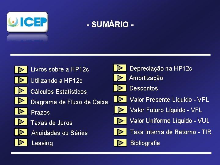 - SUMÁRIO - Livros sobre a HP 12 c Depreciação na HP 12 c