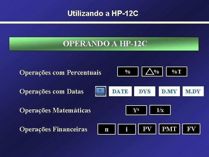 Utilizando a HP-12 C OPERANDO A HP-12 C % Operações com Percentuais Operações com