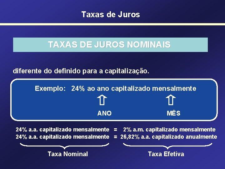 Taxas de Juros TAXAS DE JUROS NOMINAIS diferente do definido para a capitalização. Exemplo: