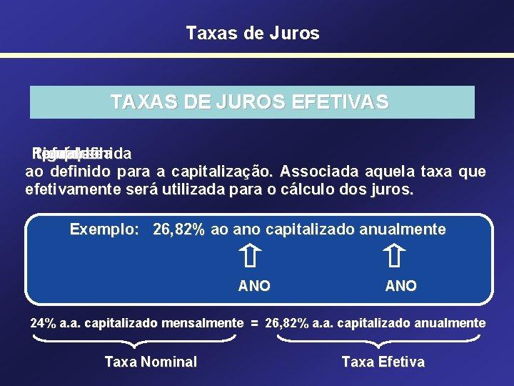 Taxas de Juros TAXAS DE JUROS EFETIVAS Refere-se tempo período igual de um aquela