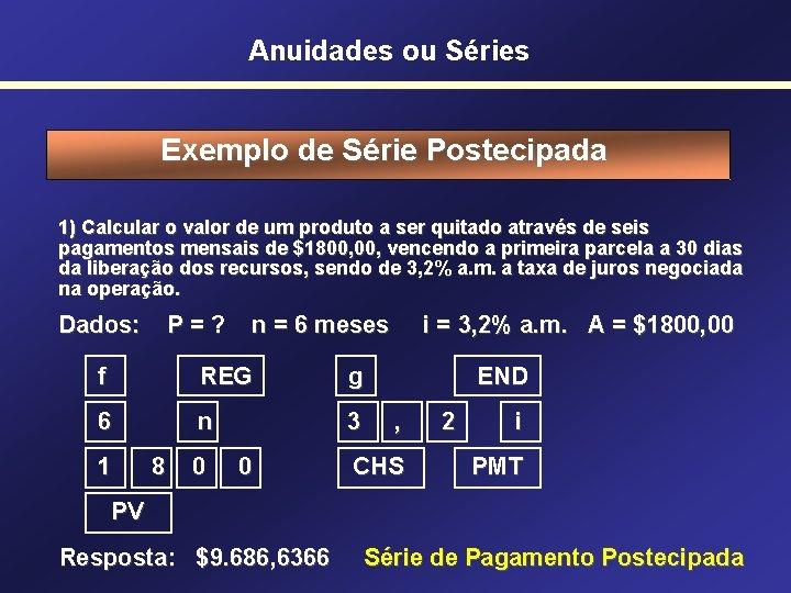 Anuidades ou Séries Exemplo de Série Postecipada 1) Calcular o valor de um produto