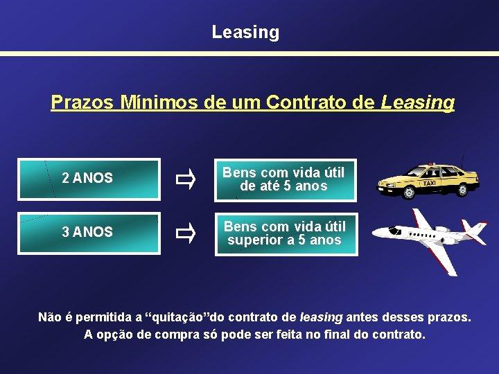 Leasing Prazos Mínimos de um Contrato de Leasing 2 ANOS Bens com vida útil