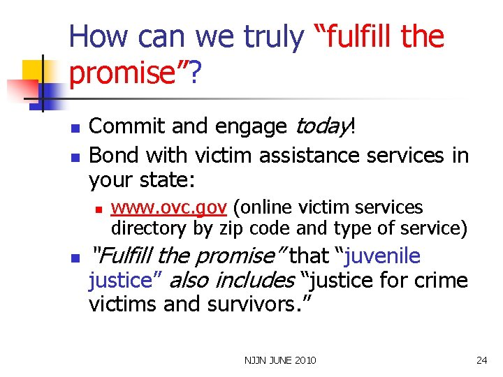 """How can we truly """"fulfill the promise""""? n n Commit and engage today! Bond"""