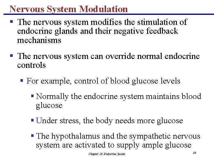 Nervous System Modulation § The nervous system modifies the stimulation of endocrine glands and