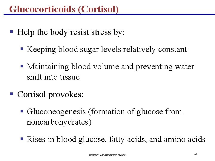Glucocorticoids (Cortisol) § Help the body resist stress by: § Keeping blood sugar levels