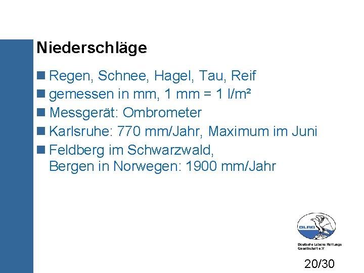 Niederschläge Regen, Schnee, Hagel, Tau, Reif gemessen in mm, 1 mm = 1 l/m²