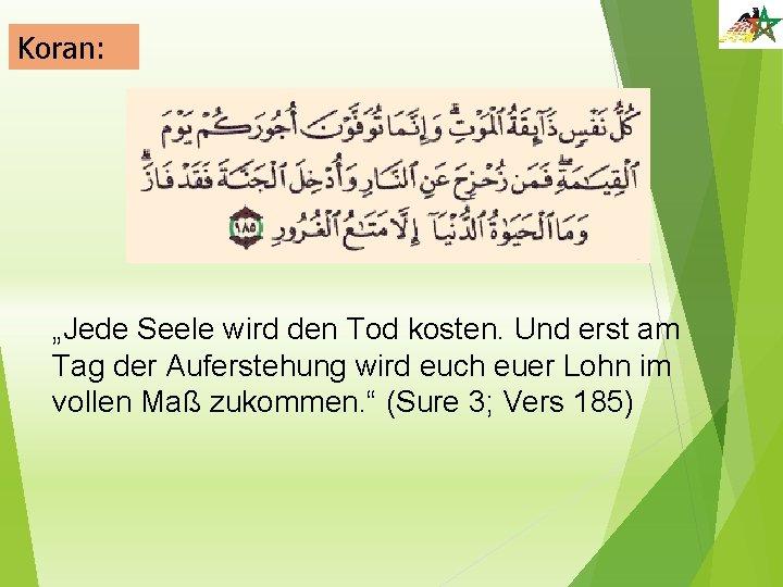 """Koran: """"Jede Seele wird den Tod kosten. Und erst am Tag der Auferstehung wird"""