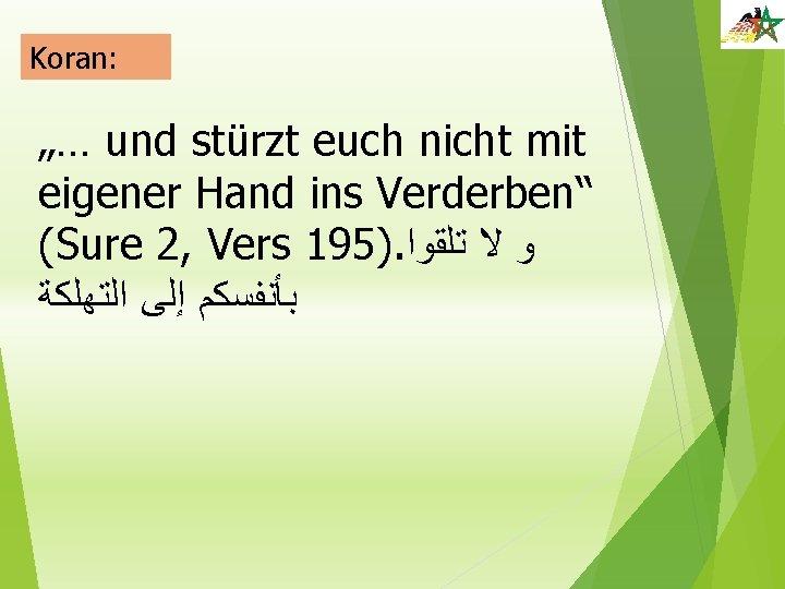 """Koran: """"… und stürzt euch nicht mit eigener Hand ins Verderben"""" (Sure 2, Vers"""