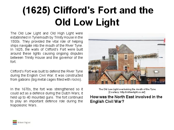 (1625) Clifford's Fort and the Old Low Light The Old Low Light and