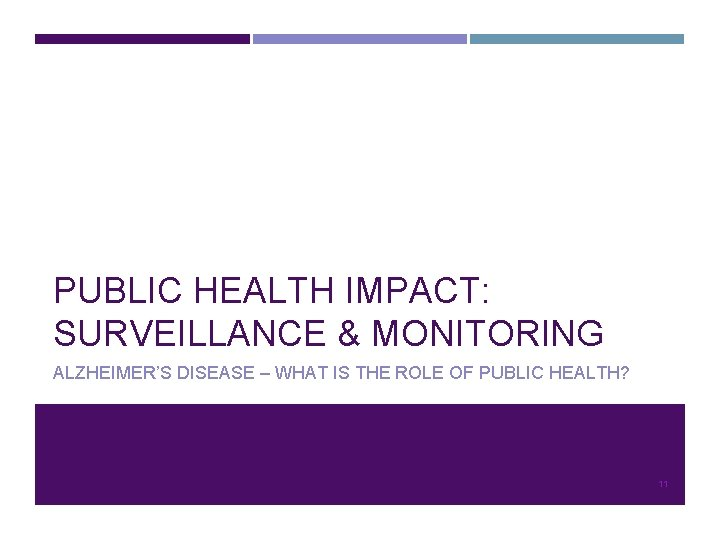 PUBLIC HEALTH IMPACT: SURVEILLANCE & MONITORING ALZHEIMER'S DISEASE – WHAT IS THE ROLE OF