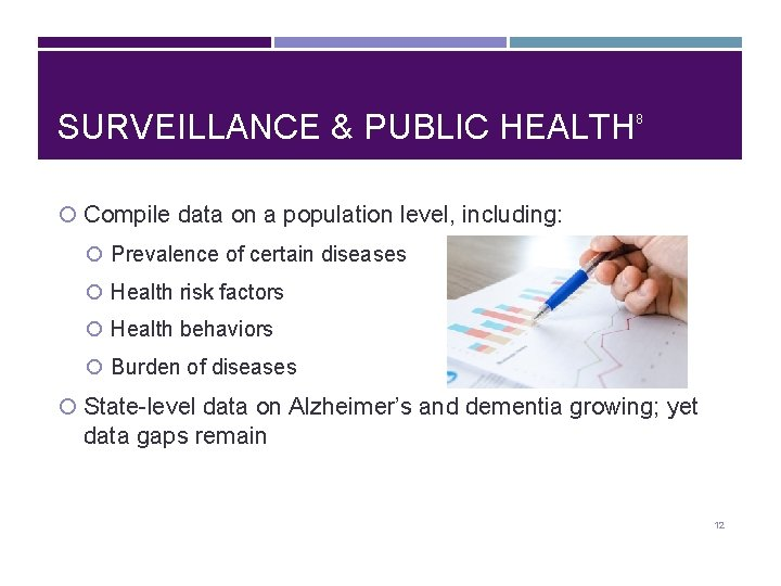 SURVEILLANCE & PUBLIC HEALTH 8 Compile data on a population level, including: Prevalence of