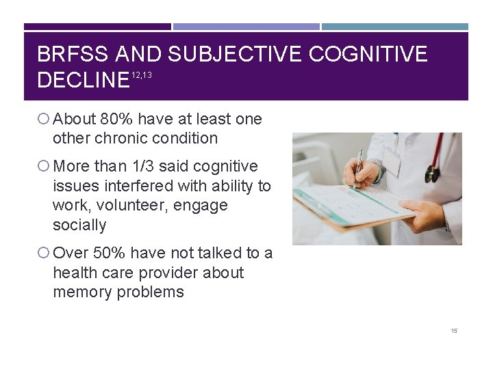 BRFSS AND SUBJECTIVE COGNITIVE DECLINE 12, 13 About 80% have at least one other