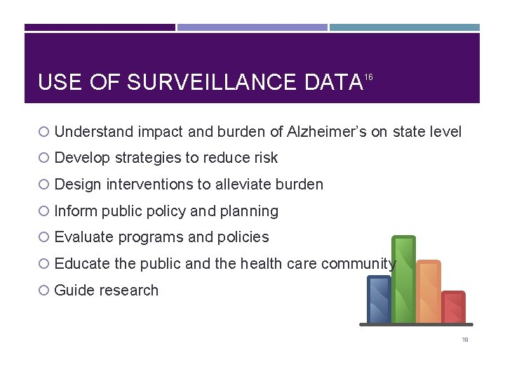 USE OF SURVEILLANCE DATA 16 Understand impact and burden of Alzheimer's on state level