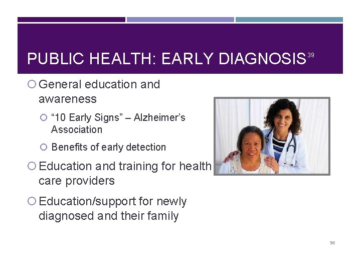 """PUBLIC HEALTH: EARLY DIAGNOSIS 39 General education and awareness """" 10 Early Signs"""" –"""