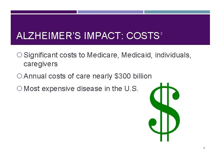 ALZHEIMER'S IMPACT: COSTS 3 Significant costs to Medicare, Medicaid, individuals, caregivers Annual costs of