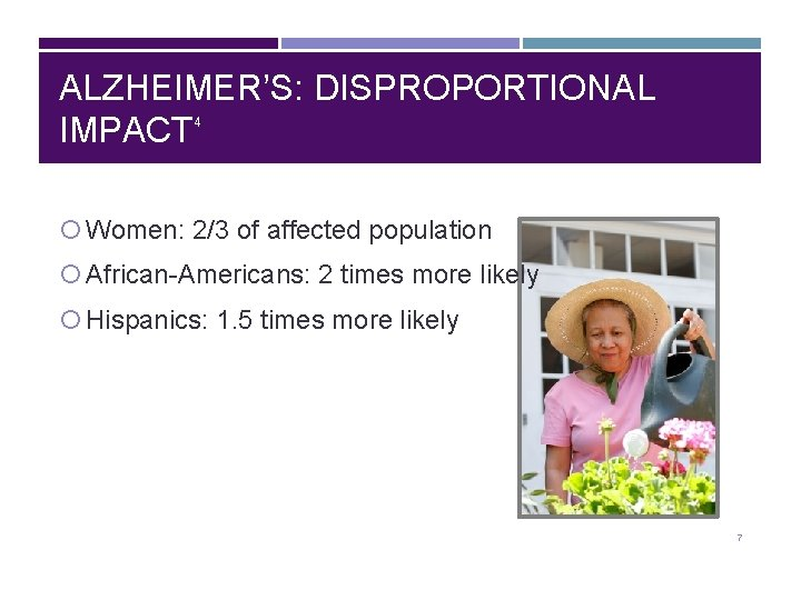 ALZHEIMER'S: DISPROPORTIONAL IMPACT 4 Women: 2/3 of affected population African-Americans: 2 times more likely
