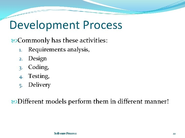 Development Process Commonly has these activities: 1. Requirements analysis, 2. Design 3. Coding, 4.