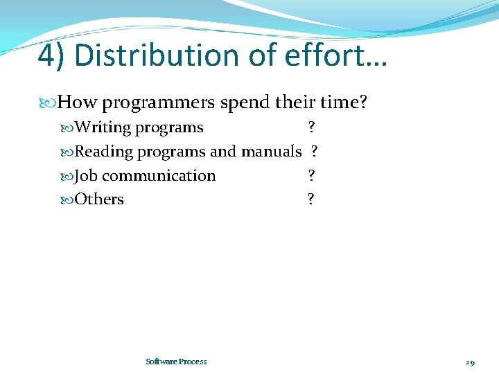 4) Distribution of effort… How programmers spend their time? Writing programs ? Reading programs