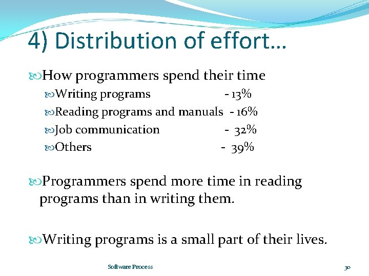 4) Distribution of effort… How programmers spend their time Writing programs - 13% Reading