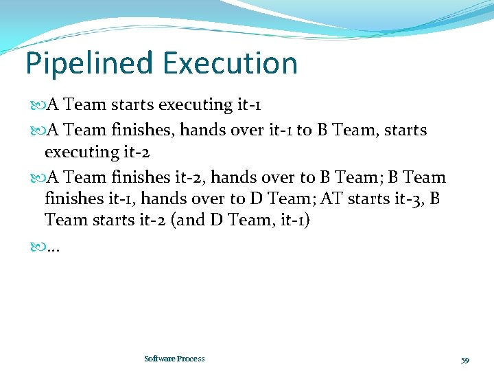 Pipelined Execution A Team starts executing it-1 A Team finishes, hands over it-1 to