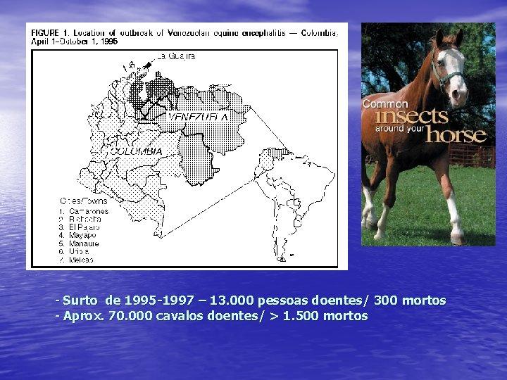 - Surto de 1995 -1997 – 13. 000 pessoas doentes/ 300 mortos - Aprox.