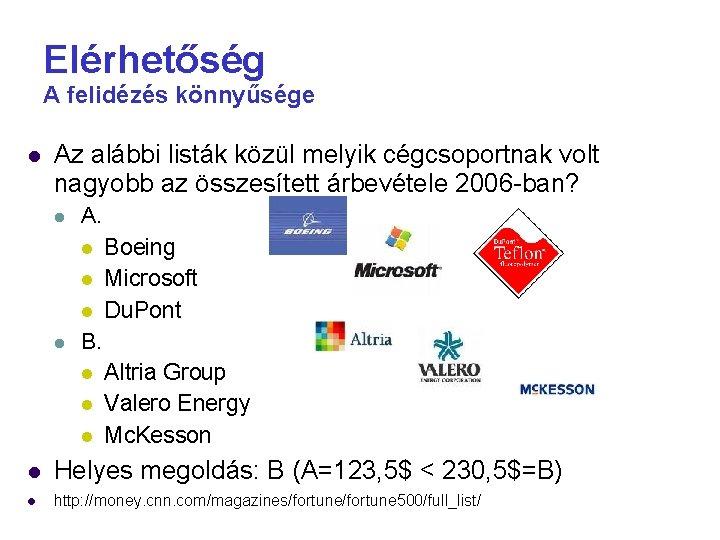 Elérhetőség A felidézés könnyűsége Az alábbi listák közül melyik cégcsoportnak volt nagyobb az összesített