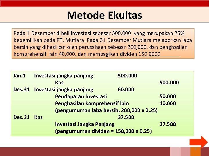 Metode Ekuitas Pada 1 Desember dibeli investasi sebesar 500. 000 yang merupakan 25% kepemilikan